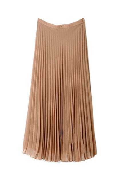 Middle Length Pleated Camel Skirt