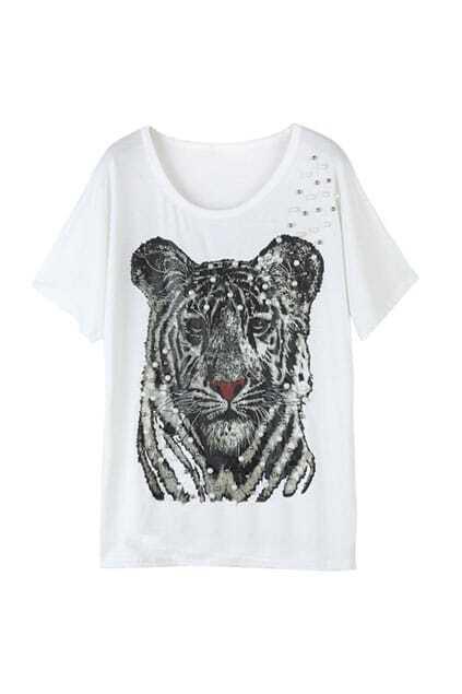 Tiger Printing White T-shirt