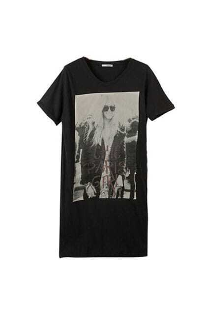 Fashion Girl Portrait Printing Black T-shirt