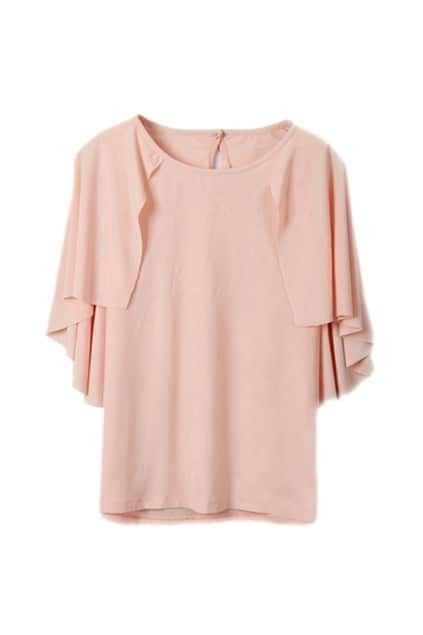 Pink Cape Style Short Sleeve T-shirt