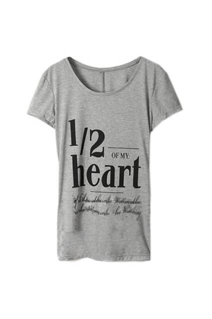 Gray Half Heart Letter T-shirt