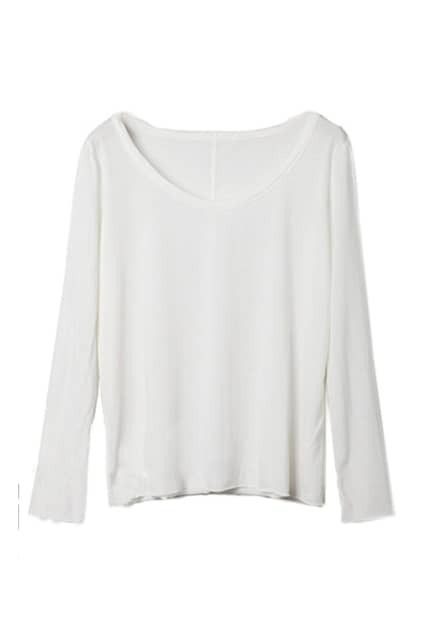 White Basic Large Round Neck T-shirt
