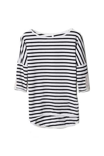 Basic Medium Sleeve Black Stripe T-shirt