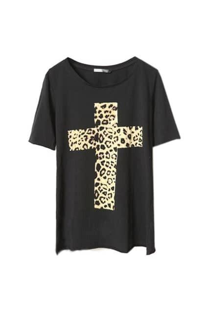 Black Leopard Cross Round Neck T-shirt
