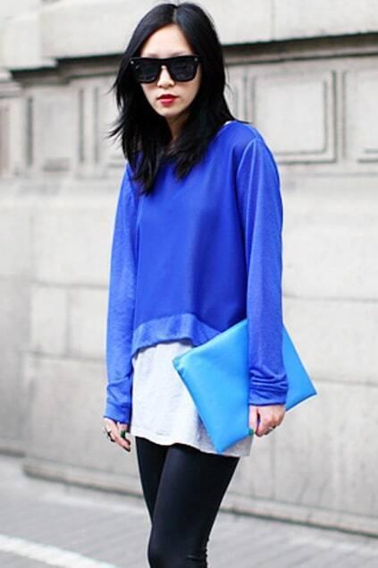 Blue Long Sleeve Chiffon Crop Top