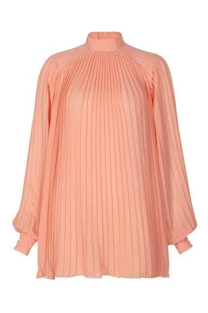 Orange-pink  Puff Sleeve Retro Dress