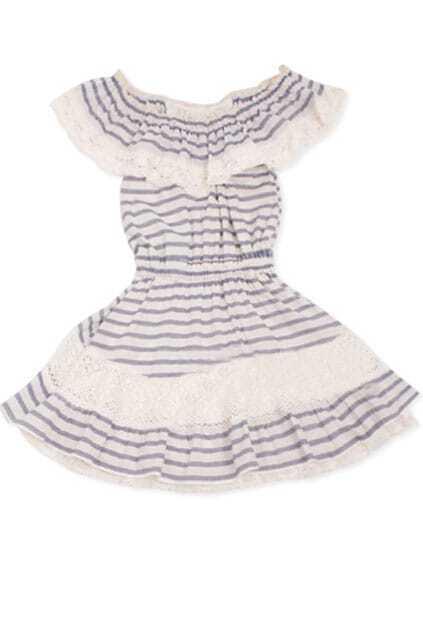 Elegant Navy Striped Retro Dress