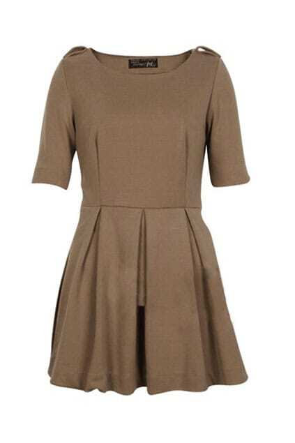 Half-sleeve Pleated Sweep Retro Camel Dress