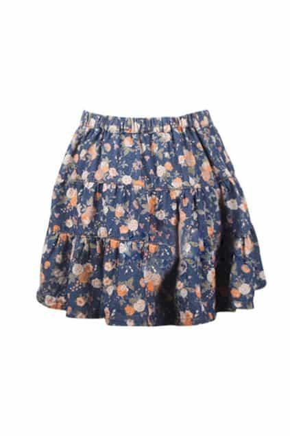 Dark Blue Shivering Retro Skirt
