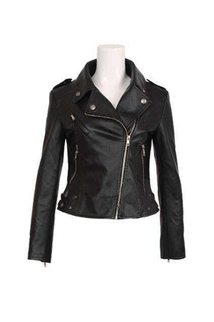 Black Rivet Retro Style Fur Outwear