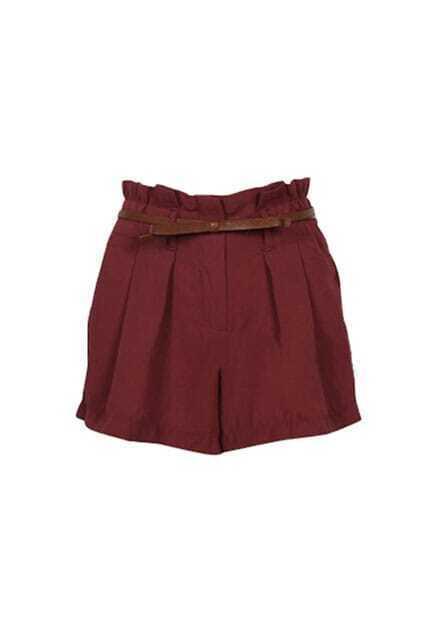 High Waist Pleated Dark Red Shorts