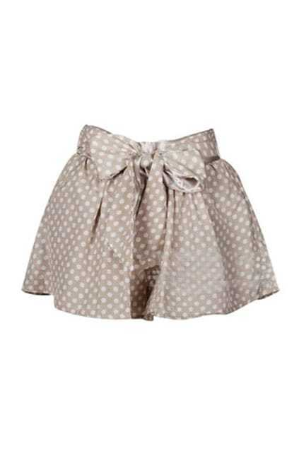 Polka Style Bowknot Nude Culotte