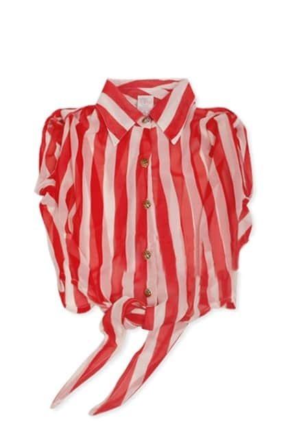Leopard Button Chiffon Striped Retro T-shirt