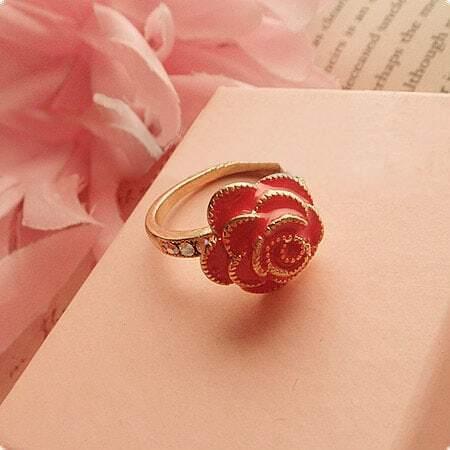Retro European Red Flower Ring