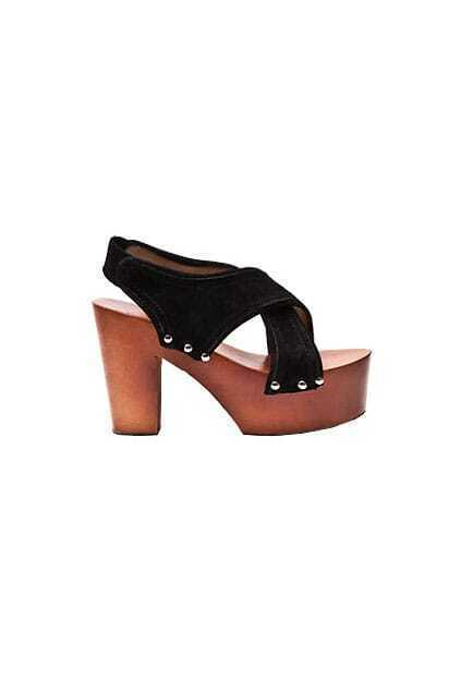 Crossed Bands Woody High heeled Black Shoes