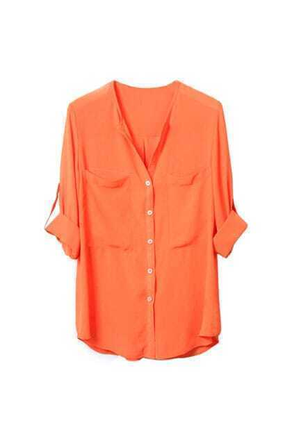 Fitted Two-pockets Long-sleeve Orange Shirt