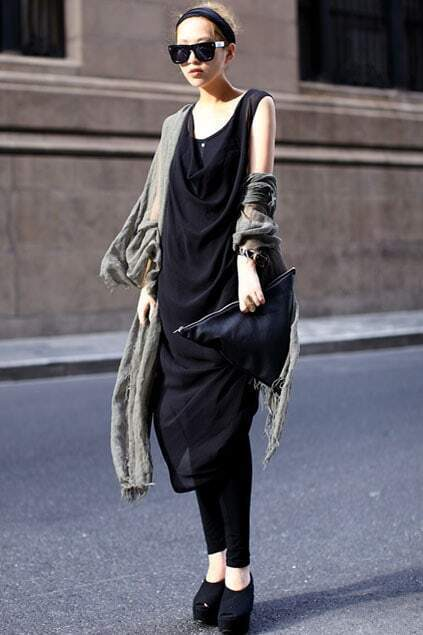 Roll Neck Weave-like Design Black Tank-dress