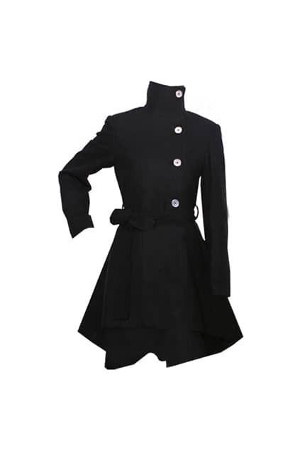 Asymmetric Lower Hems Woolen Black Coat