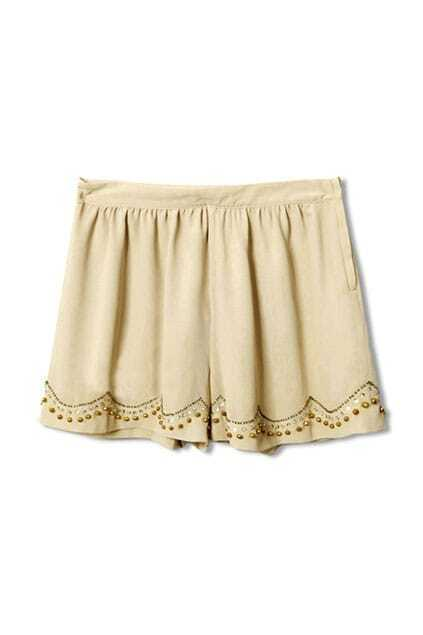 Bohemian Style Fitted Beads Apricot Shorts