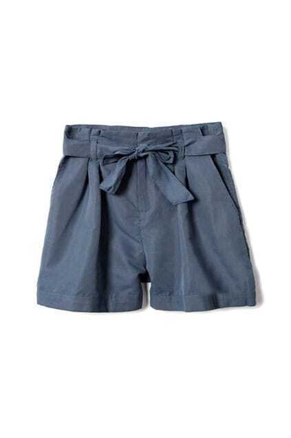 High-waist Fitted Drawstring Bowknot Blue Shorts