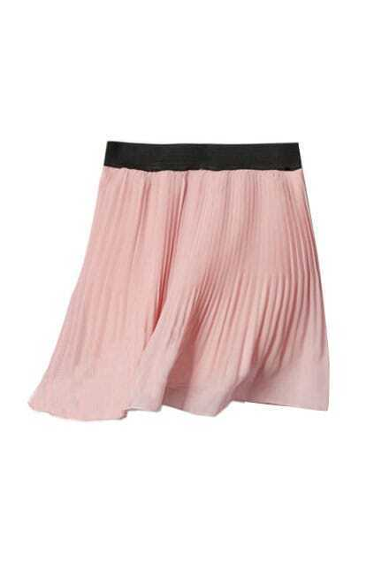 Retro Pleating Pink Skirt