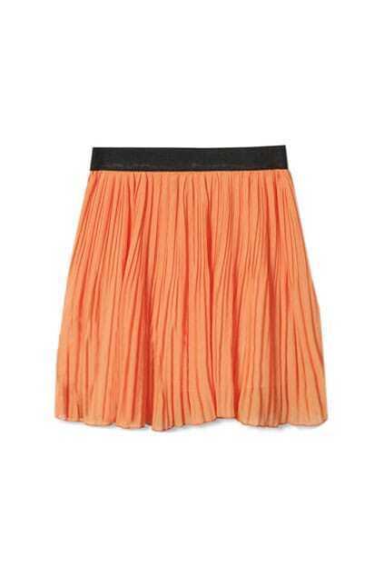 Retro Pleating Orange Skirt