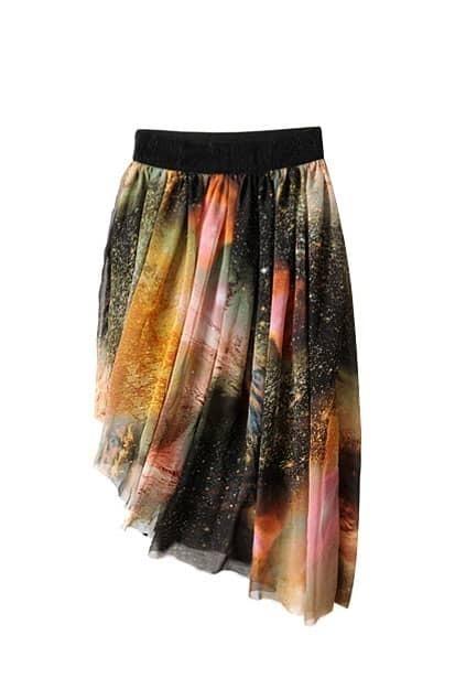 Star Printed Oblique Asymmetric Skirt