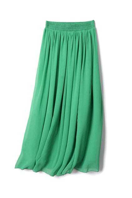 Chiffon Elasticated Waist Green Long Skirt