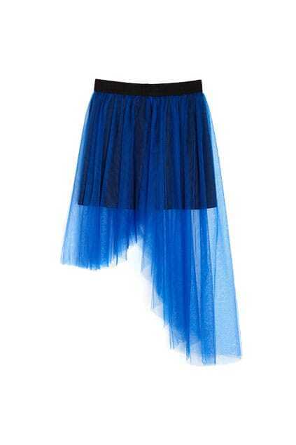 Irregular Clipping Gauze Blue Skirt