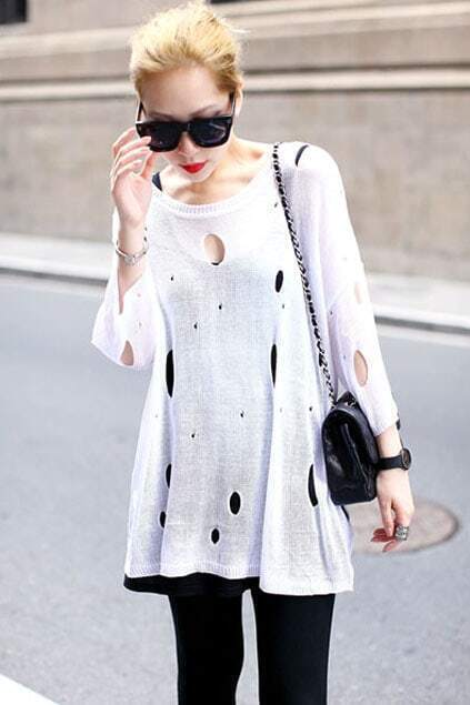 Wild Pierced Holes Loose White Knit-sweater