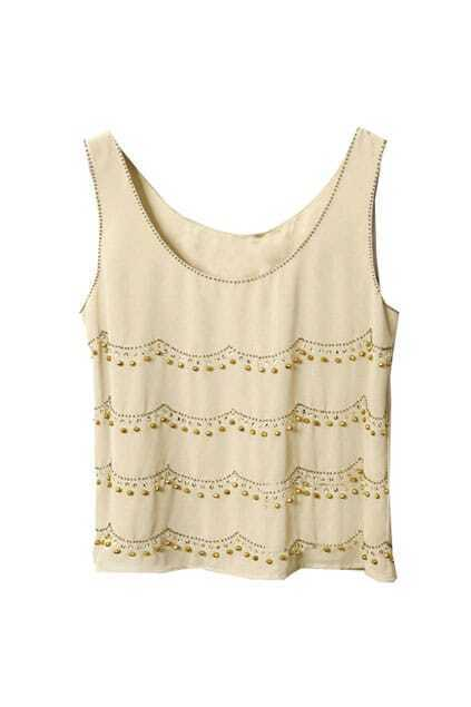 Bohemian Style Manual Beads Apricot Vest