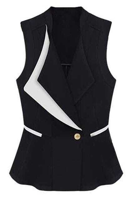 Sleeveless Feminine Slim Black Vest