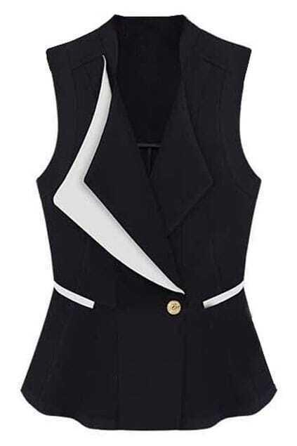 Sleeveless Feminine Slim Black Vest