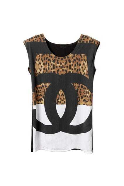 Leopard Shoulder Pads Sleeveless Black T-shirt