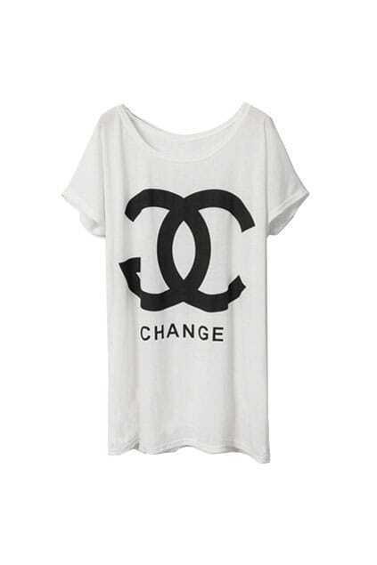 Loose Double C Letter White T-shirt