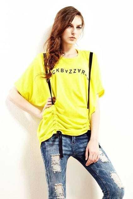 Letter Print Suspender Bright Yellow  T-shirt