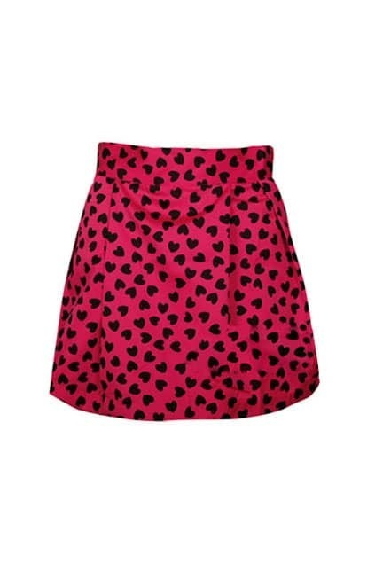Retro Heart Printed Pleated Rose Skirt