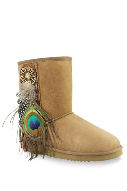 Aukoala Chestnut Peacock Feather Classic Short Boots