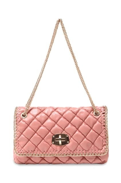 Golden Lock Embellishment Pink Bag