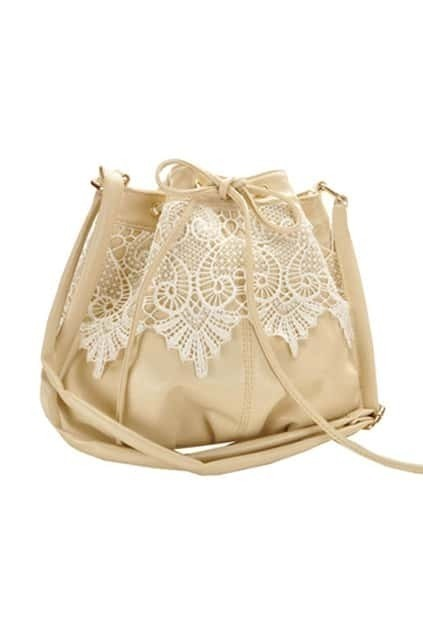 Lace Detailed Cream Bag