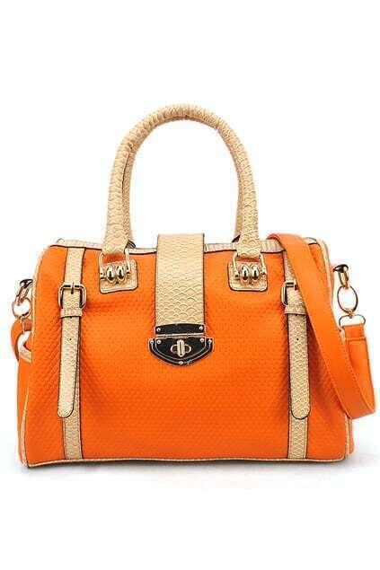 Snake Printed Orange Handle Bag