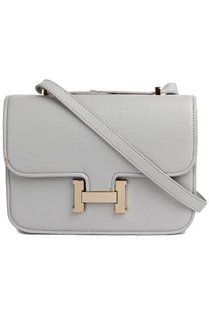 H-shape Hardware Grey Bag