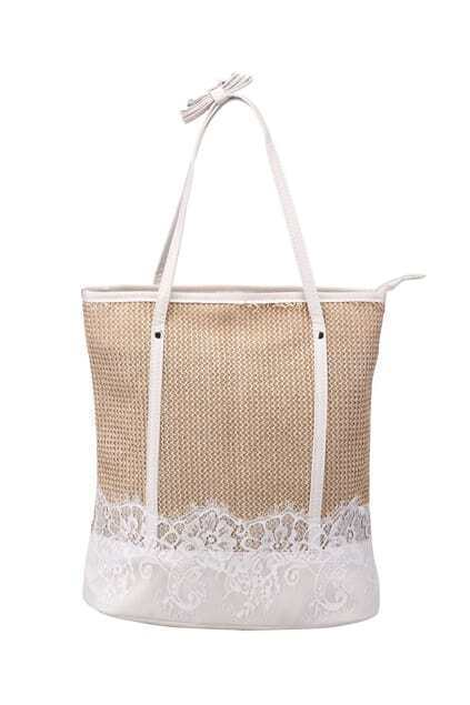 Lace Detailed Woven Straw Bag