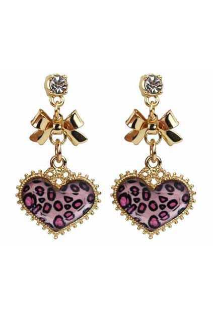 Leopard Heart And Bowknot Earrings