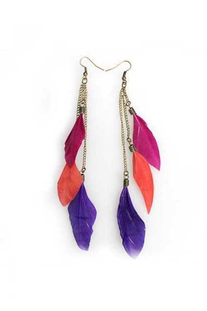 Three Color Feather Tassel Earrings
