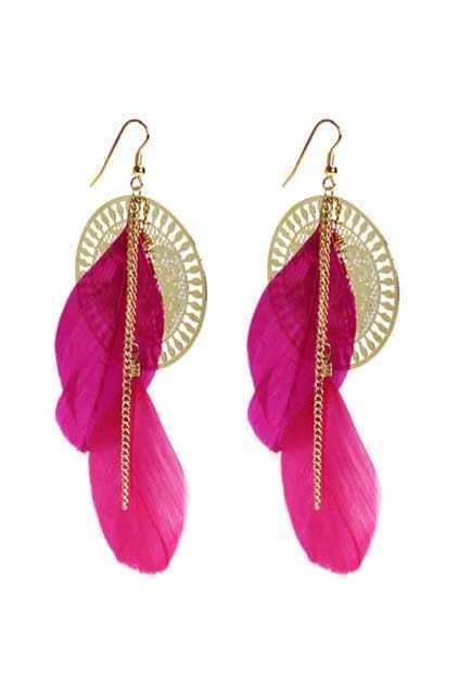 Pink Feather And Golden Disc Earrings