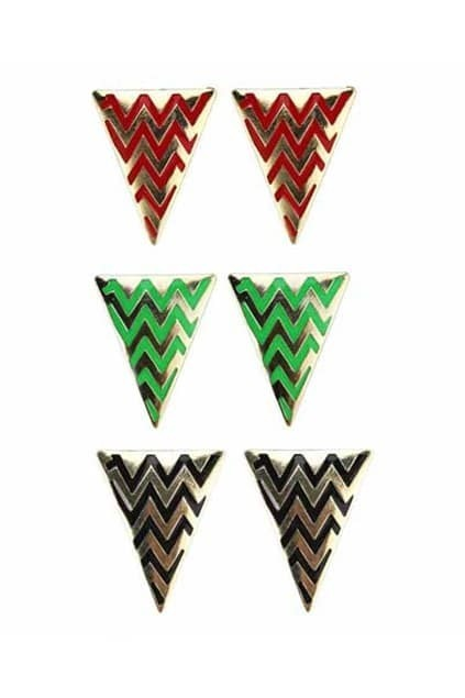 Wave Lines Triangle Earrings