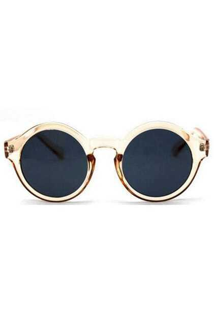 Circular Frame Retro Champagne Sunglasses