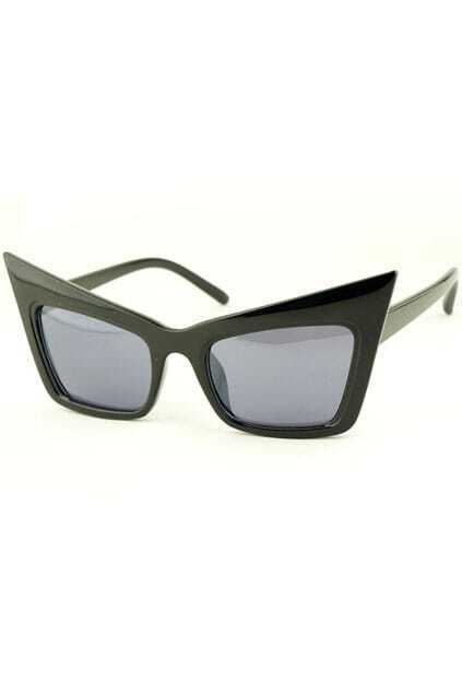 Cat's Eye Box Frame Black Sunglasses