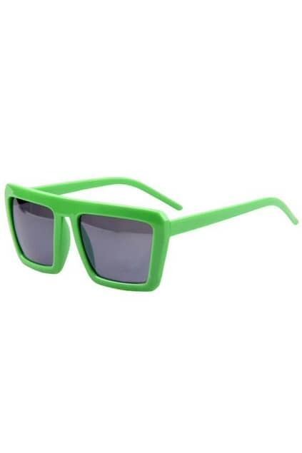 Retro Box Frame Green Sunglasses